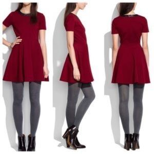 Madewell Dresses - Madewell Red Skater dress with Leather collar- med